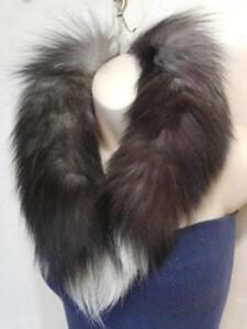 "REAL FUR Circle Scarf Neck Warmer Black and White 30"" long Active Oakville THICK FLUFFY WARM"