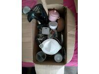 House clearance box of utensils, boiler, plates, mugs, pints...