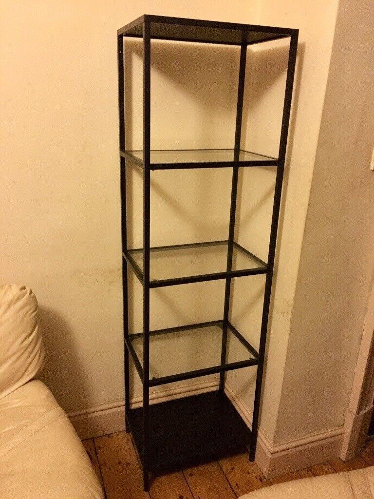 ikea vittsjo shelving unit black brown glass in. Black Bedroom Furniture Sets. Home Design Ideas
