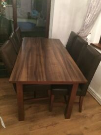 Dark brown table and chairs