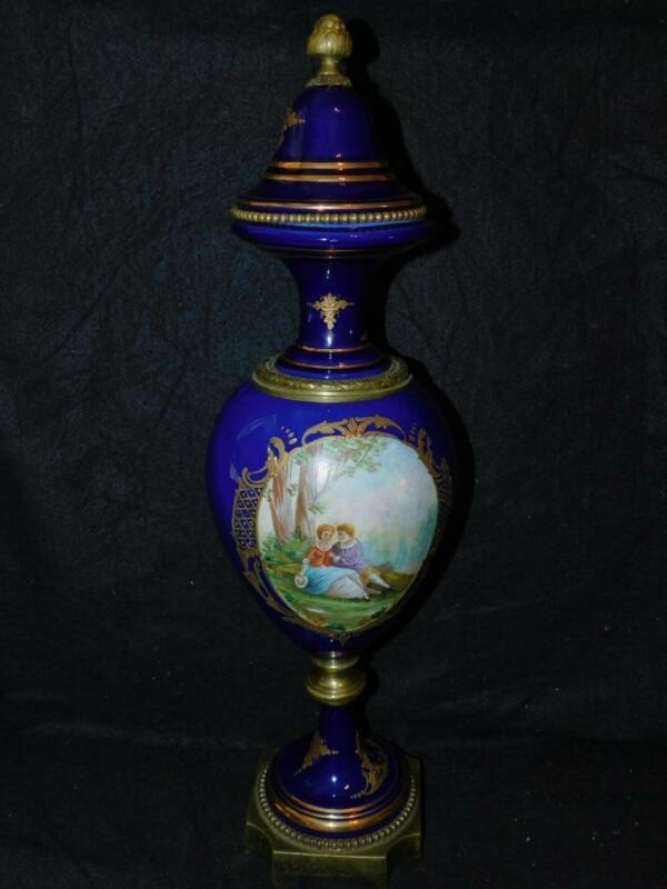 """ANTIQUE SEVRES COBALT BOLTED URN 19"""" TALL HANDPAINTED COURTSHIP"""