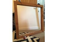 Large Square Mirror with Chuncky Wooden Frame