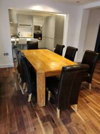 Real Oak Wood Dining Table with 10 Chairs
