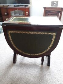 Occasional Drop Leaf Table Dark Wood Good Condition