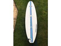 "Bic Mini Malibu Surfboard 7'3"" with wax, padded carry bag and leash"