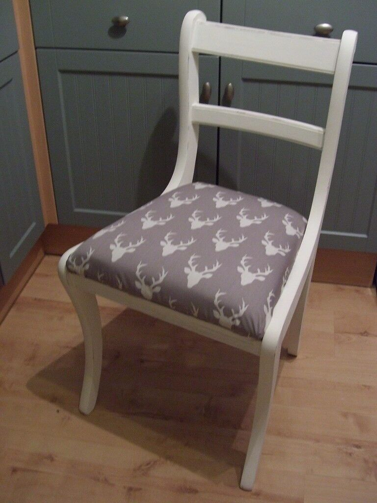 Stunning Regency Dining Chair painted in Antique White. Grey & Cream & reupholstered in any fabi