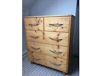 Handmade chest of drawers & matching bedside table