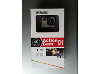 WiMiUS Action Camera 4K Waterproof Sports Camera Action Cam 16MP 1080P with Carrying Case - Silver