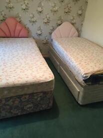 2 single divan beds good condition