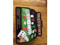 NEW TEXAS HOLD'EM POKER SET - 200 POKER CHIPS, PLAYING SURFACE, CHIP RACK, DEALER BUTTON, CARDS