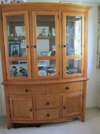 Soilid oak display cabinet and matching TV cabinet