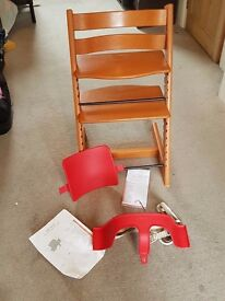 Stokke tripp trapp chair in cherry with harness