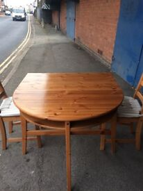Pine Half Moon Extendable TaBle And Two Chairs.