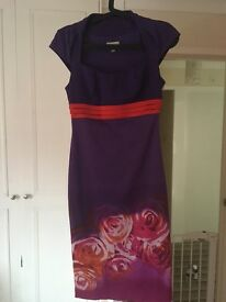 Karen Millen Size 8 Purple and Red Floral Rose Print Galaxy Pencil Dress