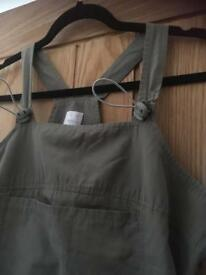 ladies size 14/16 khaki dress , dungeree style with toggle fastening on the front and the hem