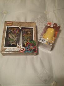 Minion soap & Marvel Comic shower set new