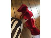 Red suede carvela shoes size 6