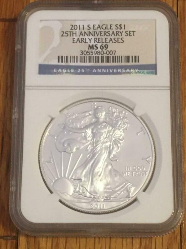 2011-S SILVER EAGLE $1 NGC MS69 EARLY RELEASES 25TH ANNIVERSARY Set