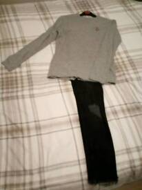 Boys Lyle and scott top and river island black skinny jeans age 11