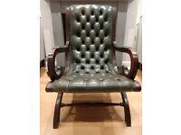 Vintage Green Chesterfield slipper chair