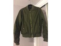 Khaki Bomber Jacket (TOPSHOP) - size 12