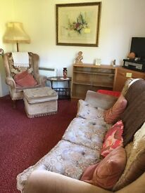 FEEE to a good home , vintage sofa, chair & footstool . Collection Only