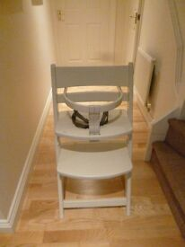 KUB white wooden baby / toddler high chair, adjustable, tripp trapp style