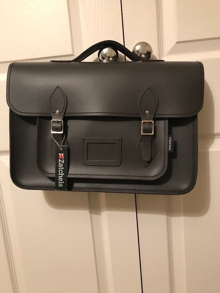 Black leather Satchel manufactured by Zatchels