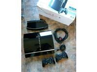 Playstation 3 (PS3) 80GB black 5 game bundle (incl Dark Souls) + 2 controllers + stand, VGC