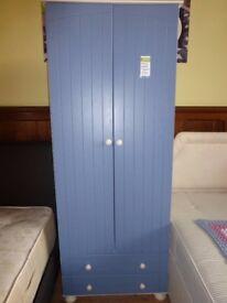 Matching blue wardrobe and drawers. 17/11
