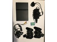 FULLY WORKING SONY PLAYSTATION 2 SLIM - BLACK - 2 CONTROLLERS + 17 GAMES