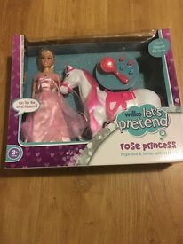 wilko lets pretend rose princess regal doll and horse with accessories