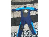 Blue and black , full wetsuit fits age 3-4
