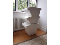 3 IKEA SORTERA plastic bins use for storage, recycling, sorting, gardening, laundry, like NEW