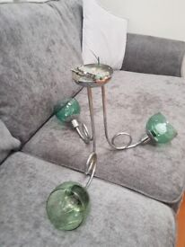 Metal and glass bowl ceiling light