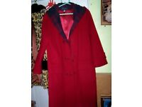Ladies Red Cashmere duffle coat as new size 14 length 40 ins so warm and smart