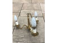 Antique Chandelier 3 armed Ceiling Light, Brass