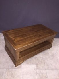 Rustic Solid Oak Wood Coffee Table Wooden Living Room Lounge Furniture