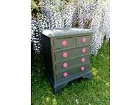 Small grey chest with pink metal handles