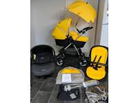silver cross wayfarer travel system pram pushchair 3in1 yellow unisex umbrella simplicity