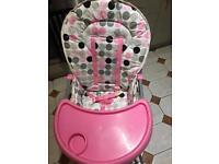 High chair - folds flat, pink polka dots