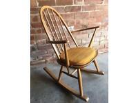 Blonde ercol rocking chair vintage retro