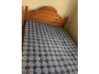Wooden solid pine double bed frame with attached headboard with or without mattress