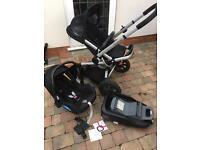 Quinny buzz travel system, maxi cosi car seat & isofix base