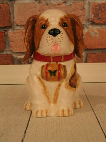 YuYu St. Bernard Dog Puppy Cookie Jar Neiman Marcus 2011 Limited Edition - NEW