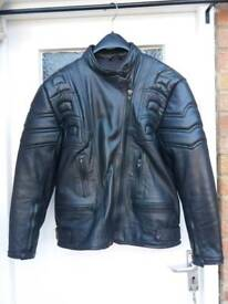 Ladies black leather motorcycle jacket