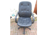 Black leather look executive office swivel computer chair
