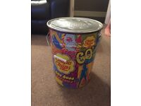 FREE DELIVERY LARGE KIDS CHUPPA CHUPS SWEET LOLLY STORAGE TIN BIN WITH HANDLE & LID BEDROOM TIDY
