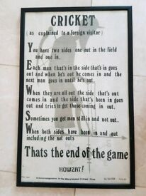 Framed cricket rules tea towel