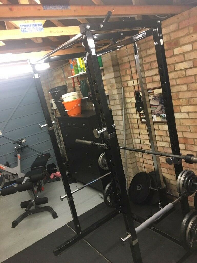 Mirafit Power Rack With Weights And Pulley System Bench